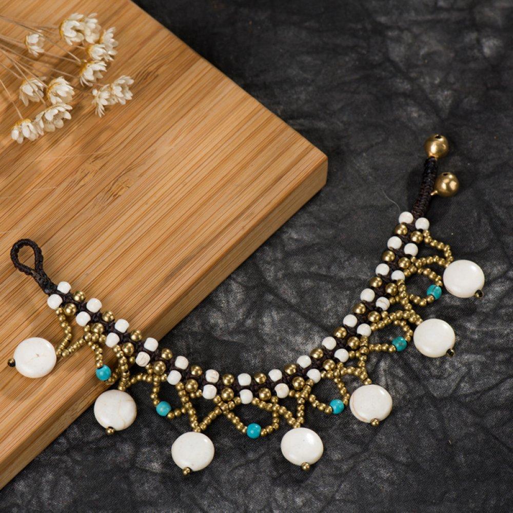 Bracelet turquoise howlite blanc  tissé