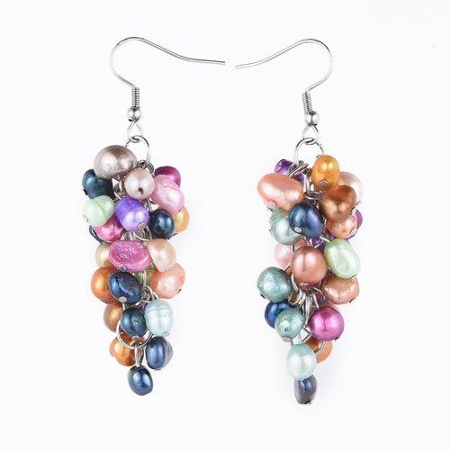 Boucles d´oreilles perle eau douce nacrée en grappe multicolore