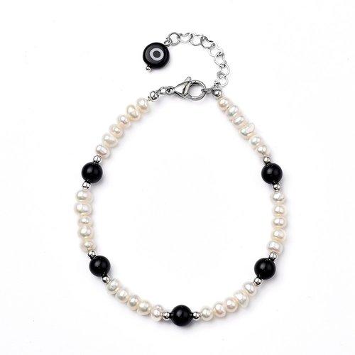 Bracelets de perles en agate noire naturelle et perles d´eau douce de culture blanches