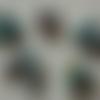 """Lot """"maldives 4"""" de 10 perles de papier ovales turquoises, 5 paires idéales pour concevoir des boucles d'oreilles fantaisies"""