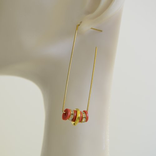Boucles d'oreilles créoles graphiques fêtes/réveillon/soirée/habillé - rouge/doré/strass
