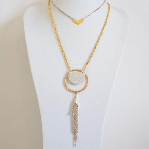 Collier sautoir multirang grand anneau et pompon chaînettes fêtes/réveillon/soirée/habillé - argenté/doré