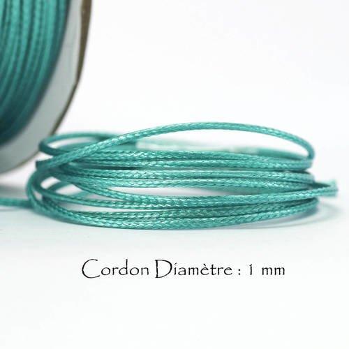5 mètres de Fil Coton Ciré  VERT IRLANDAIS Epaisseur 1 mm