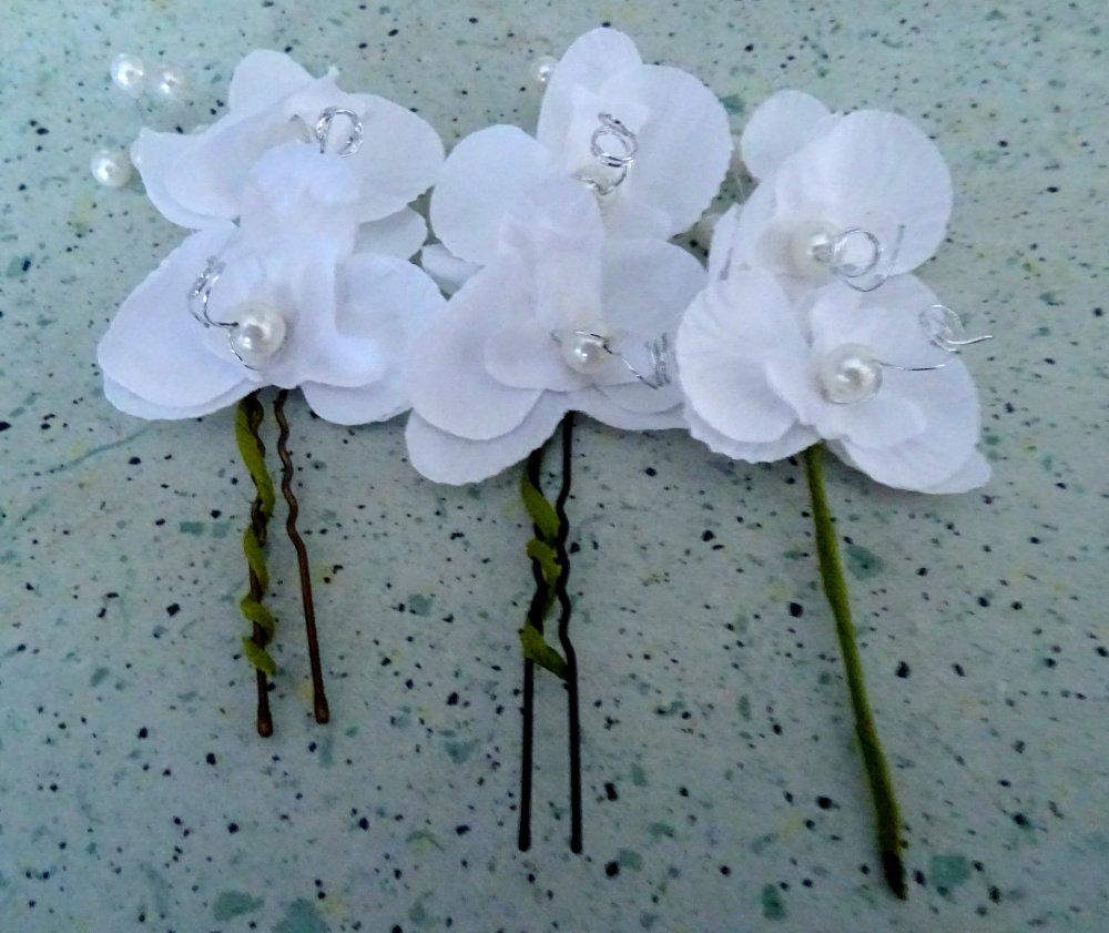 lot de 3 pics cheveux orchidées blanches et perles, chignon, mariage