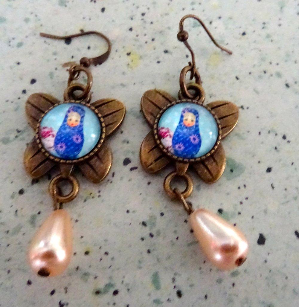 boucles d oreilles Matroicka métal bronze