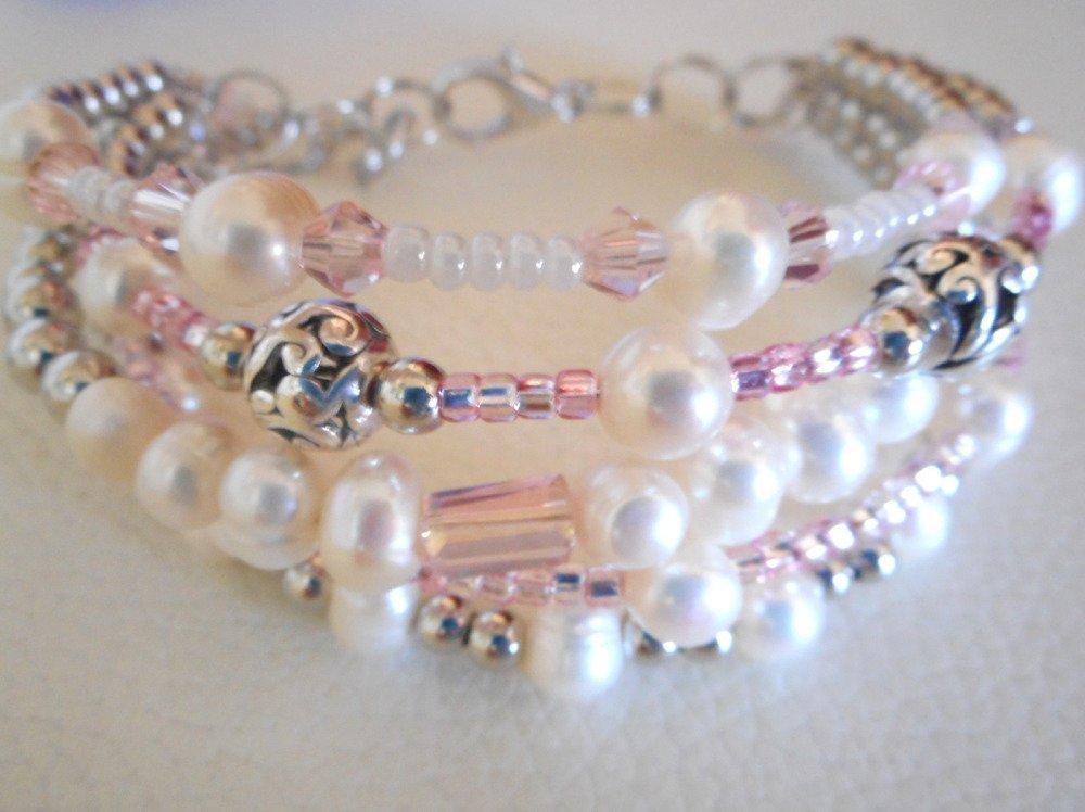 Bracelet en perle d'eau blanc et rose , bracelet de perle, gourmette