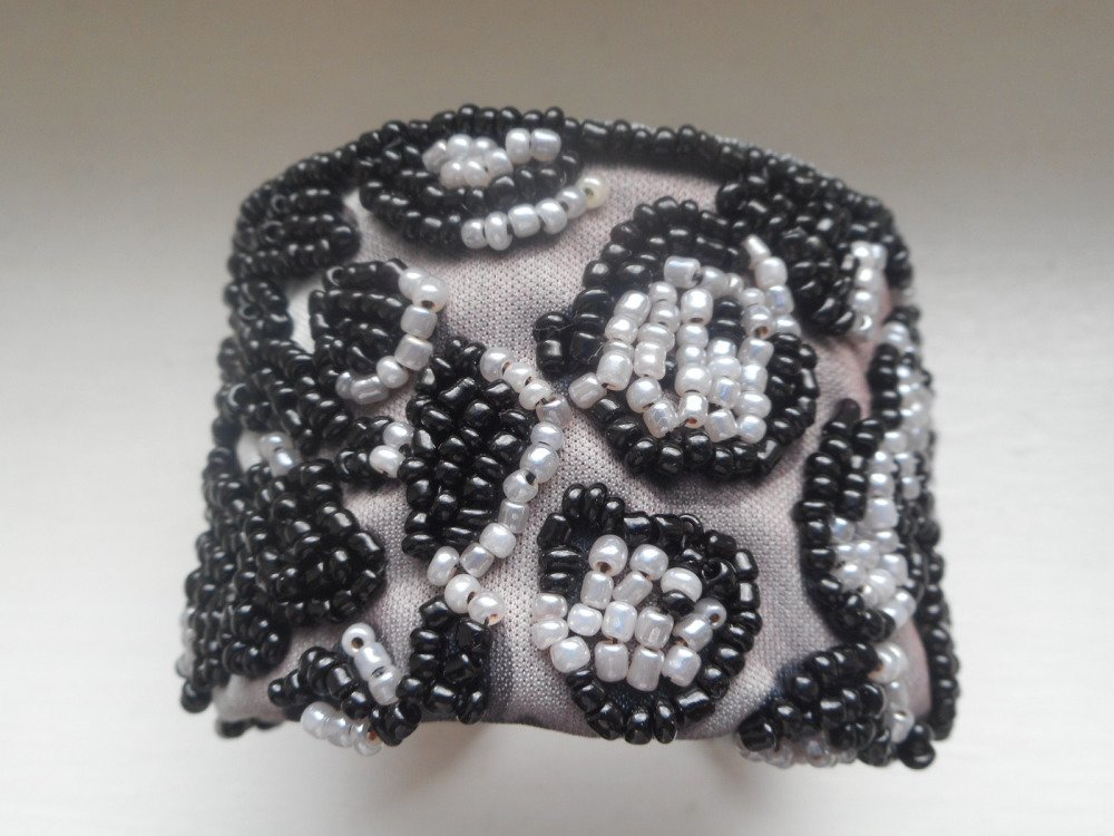 Bracelet manchette léopard, bracelet en perle léopard, perles myuki