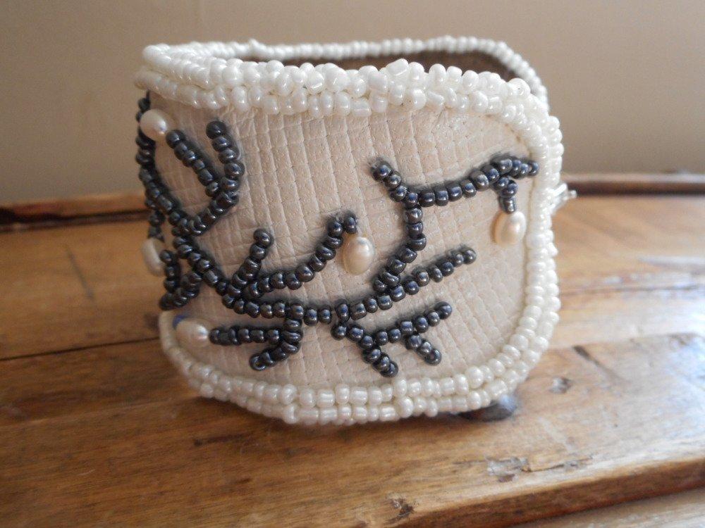 Bracelet cuir, bracelet en perles d'eau véritable et perles myuki