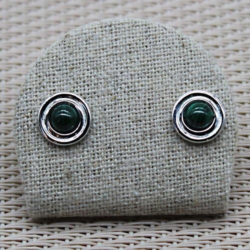 Boucles d'oreilles malachite argent 925