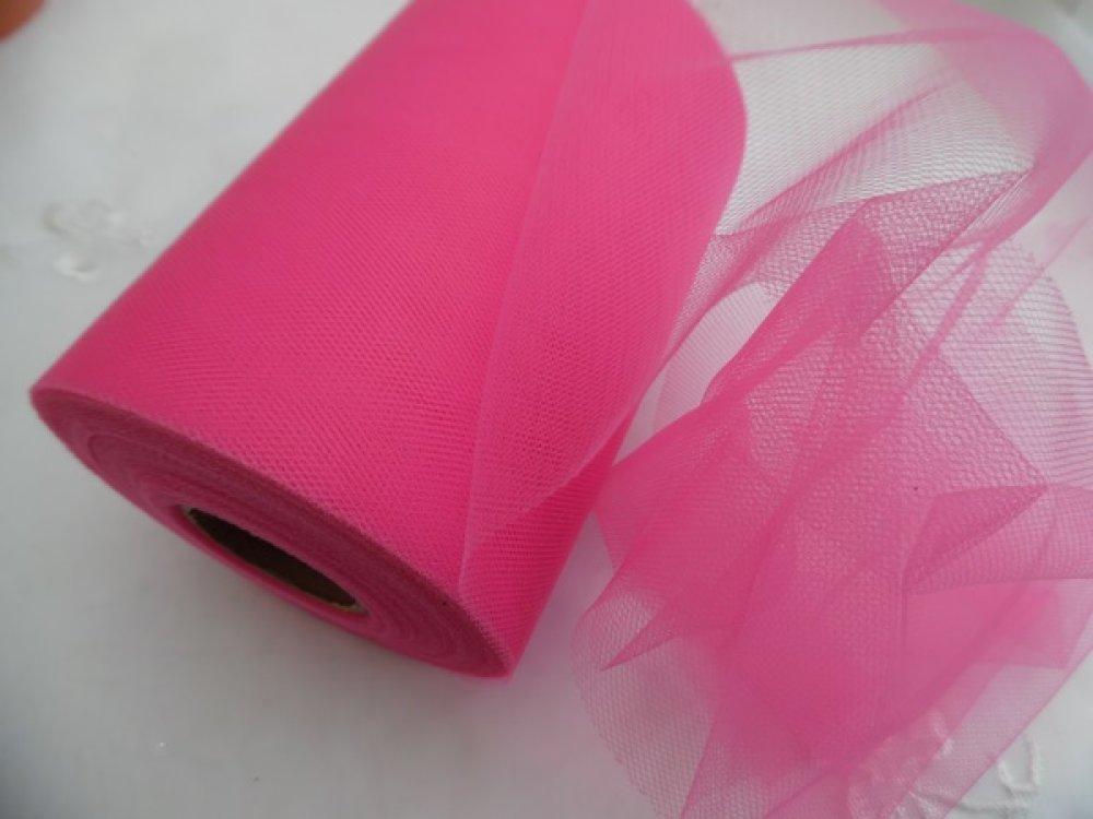 1m de tulle petite maille rose foncé largeur 15cm