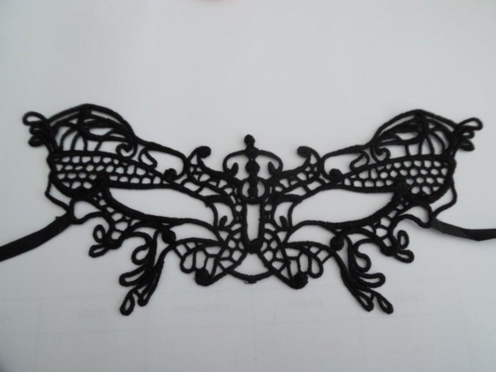 Masque M9 dentelle guipure vénitien noir 24.5x8cm
