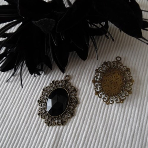 4 nouvelle Facette Ovale Charms Cristal Antique Bronze Tone Pendentifs 22x31.5mm