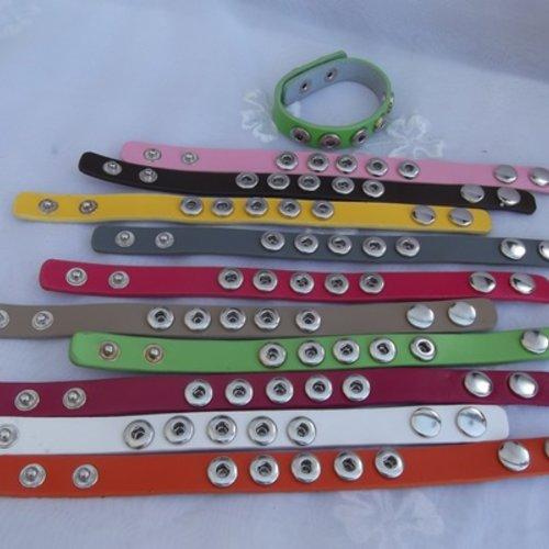 1 bande bracelet pression cuir noir 24x1.5cm