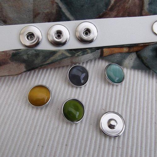 1 bouton pression bijou 1.8cm strass jaune effet nacré métal