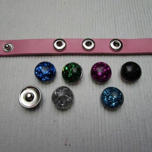 1 bouton pression bijou 1.77cm strass violet effet pépite métal