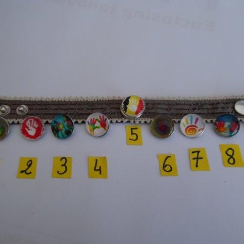 1 bouton pression bijou 1.8cm main n°7 verre métal