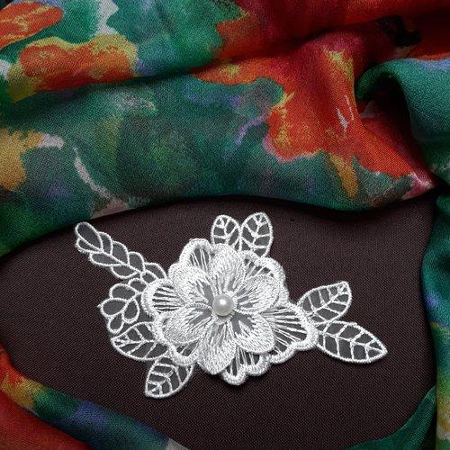 1 applique guipure fleur voile miroir blanche 11x5.5cm dv18
