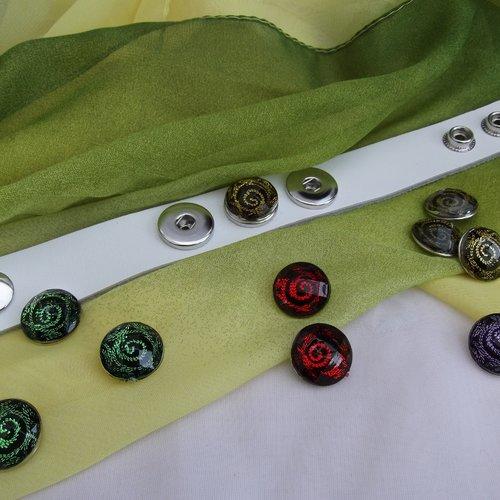 1 bouton pression bijou 1.8cm spirale vert noir à facette