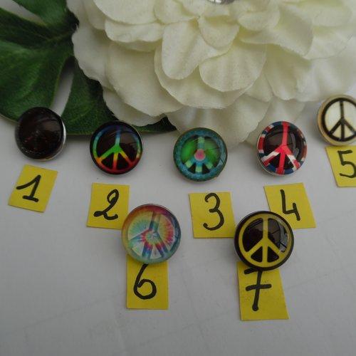 1 bouton pression bijou 1.8cm signe de la paix n°1 verre métal