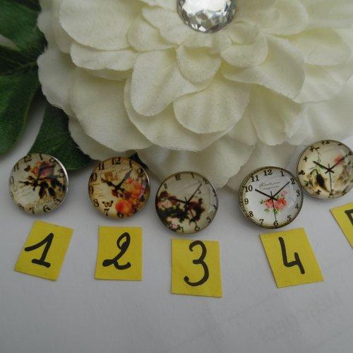 1 bouton pression bijou 1.8cm horloge pendule n°5 verre métal