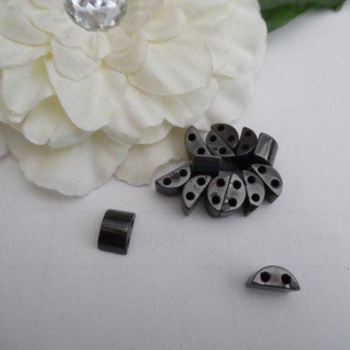 5 perles hématine rectangle bombé 12.2x7.7x5.6mm magnétique céramique, fer