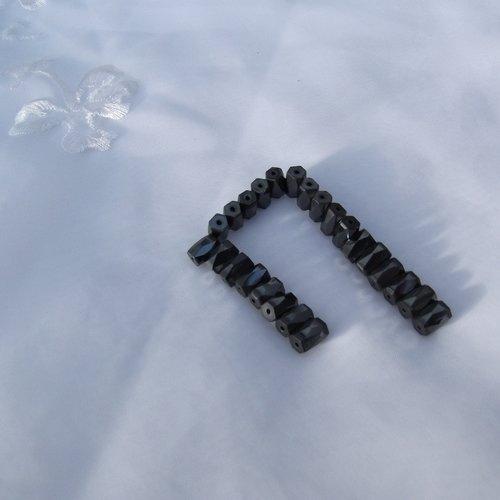5 perles hématine tube facette 8x5.7mm magnétique céramique, fer