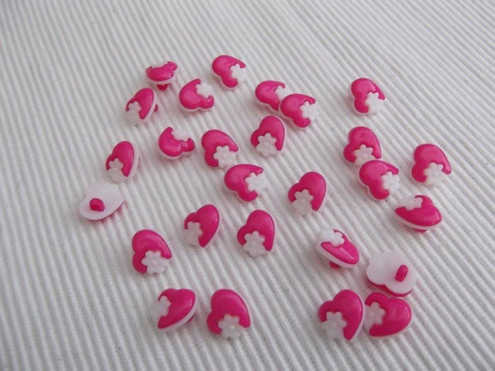 10 boutons coeur et fleur rose 13.5x15x4.5mm acrylique
