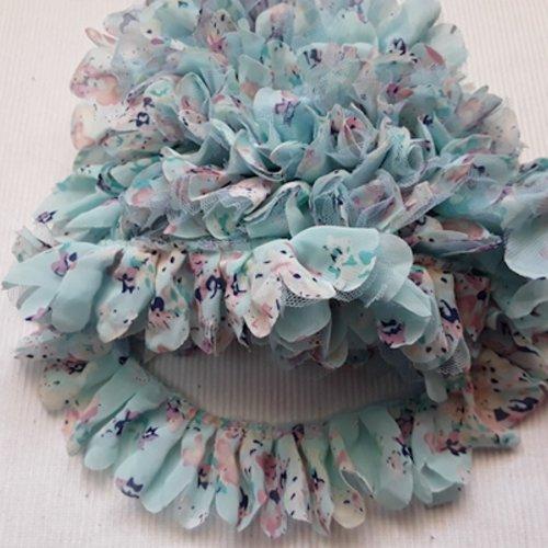 1.10m de dentelle froufrou bleu vert à fleur 4.3cm organza tulle
