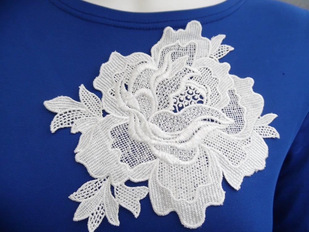 Applique fleur blanche guipure dentelle coton enduit 18x17.5cm AB054