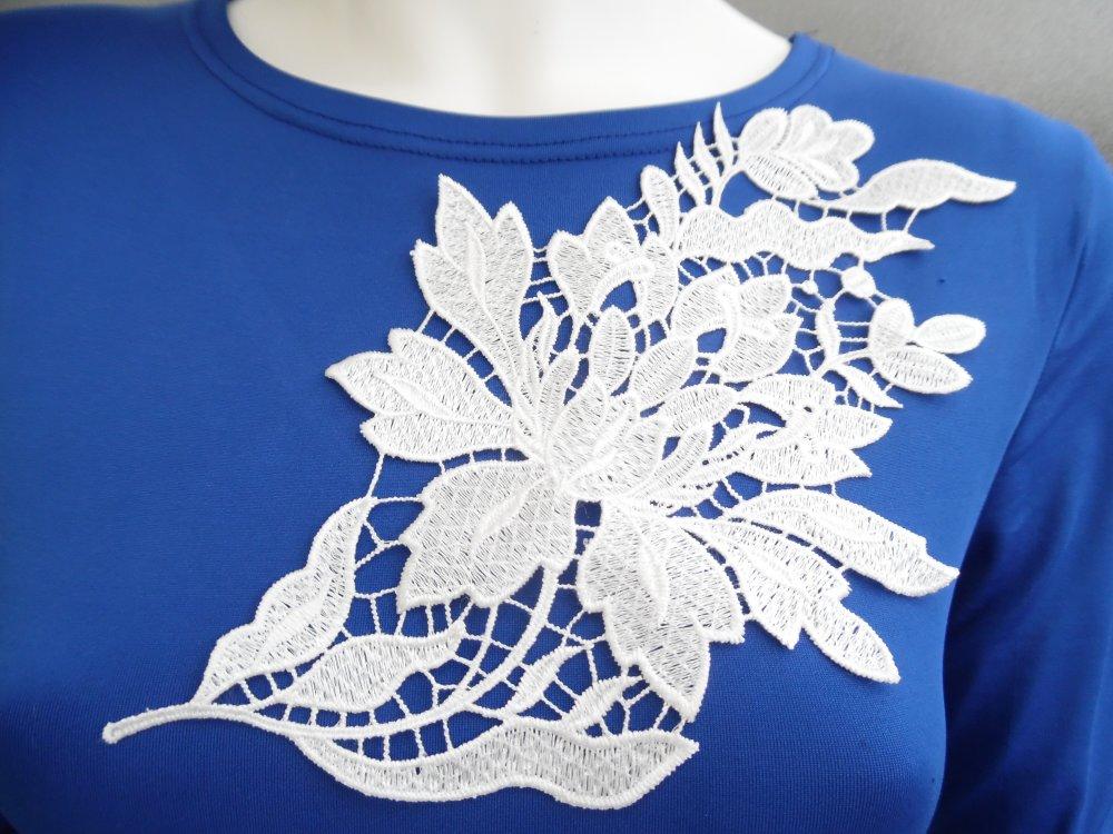 Applique fleur guipure blanche dentelle coton enduit 27.5x16.5cm AB056