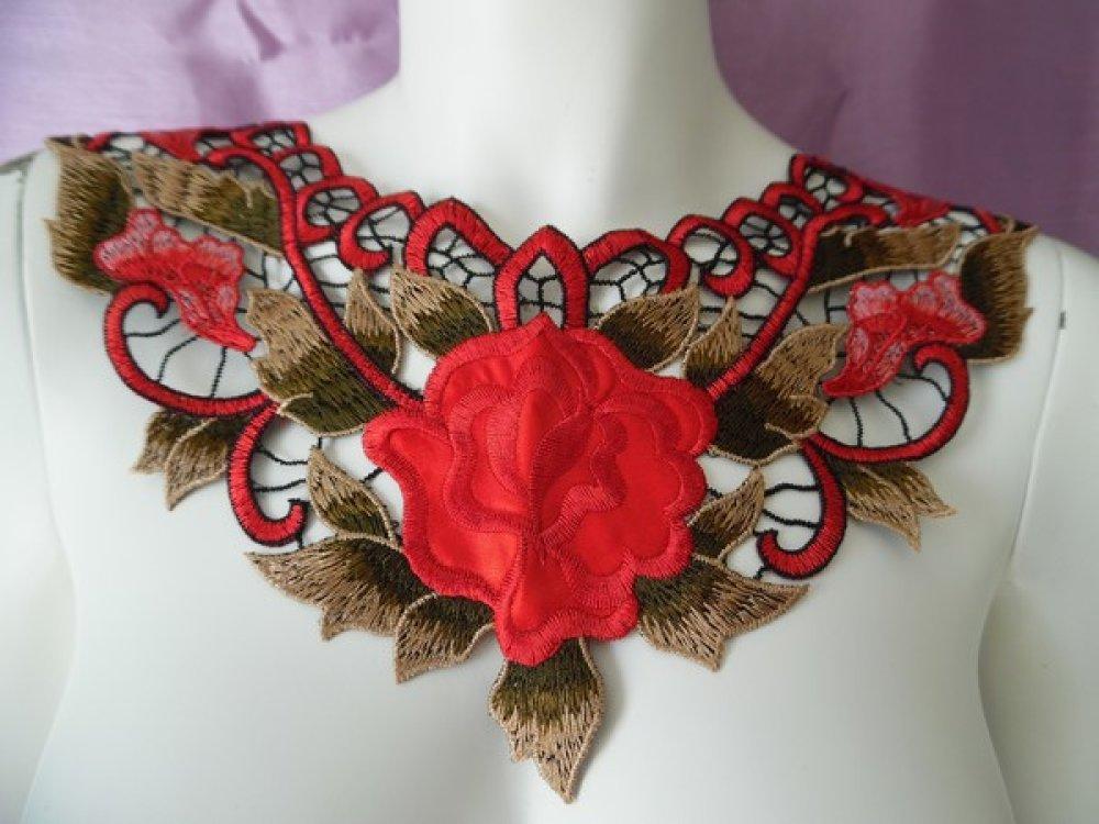 Plastron guipure encolure dentelle rouge fleurs GPC6