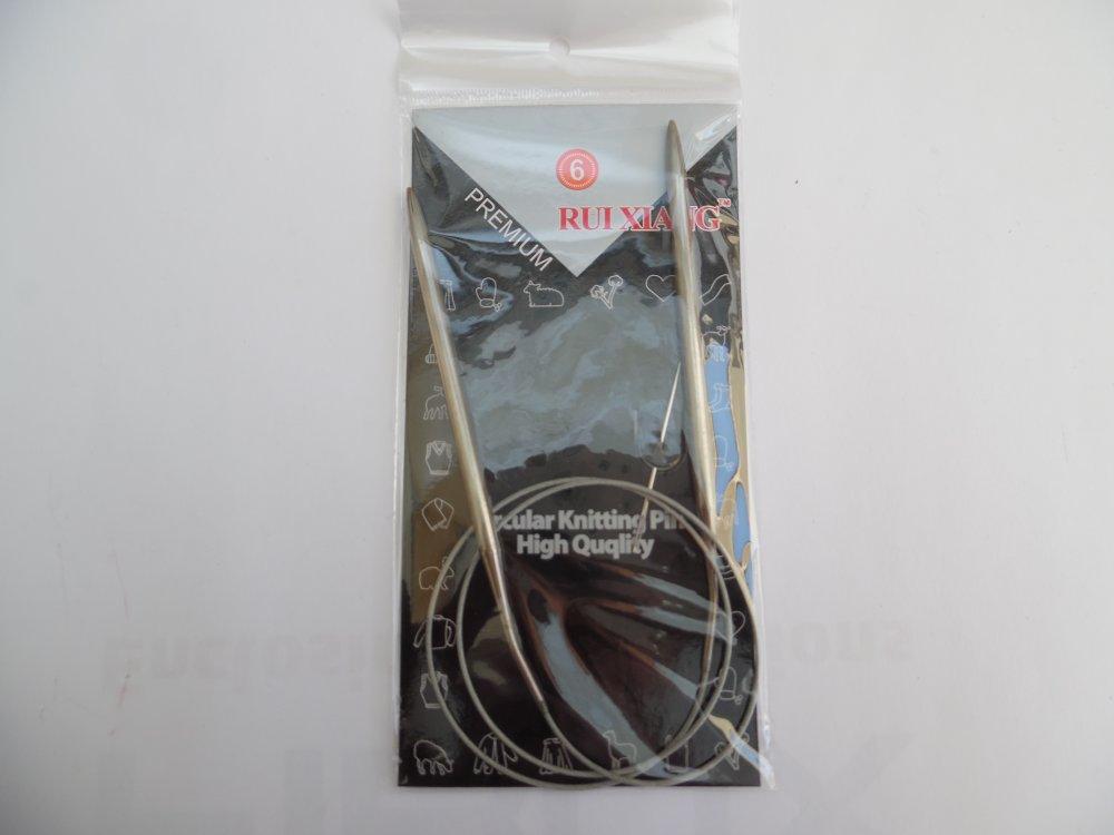 Aiguille circulaire de 5mm à tricoter 80cm aluminium n°6