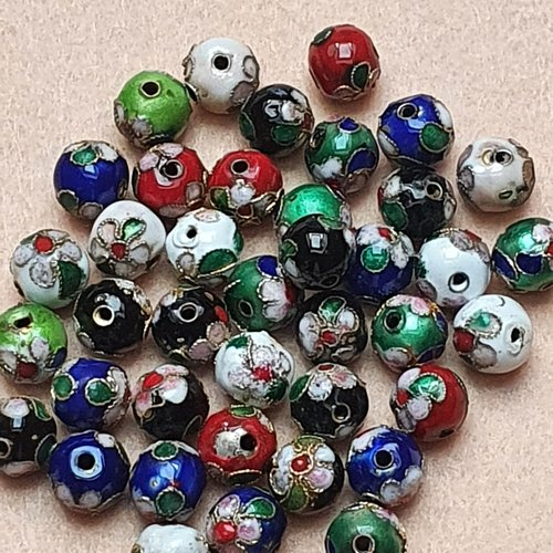 Lot de 4 perles cloisonnées rondes rouge 10mm