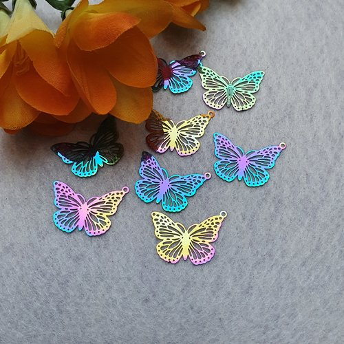 1 estampe papillon multicolore 26x18.5mm acier filigrane