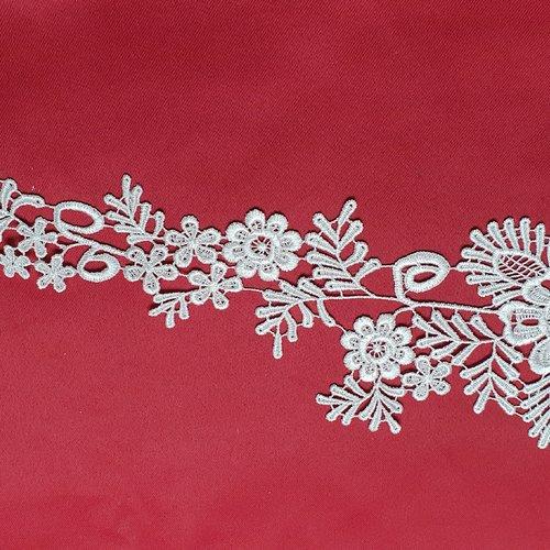 Applique fleur blanche guipure 37x13cm dentelle coton enduit ab062a