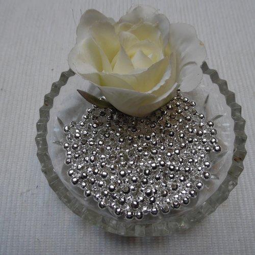 15 perles rondes lisses 6x5.6mm argenté blanc trou de 3mm