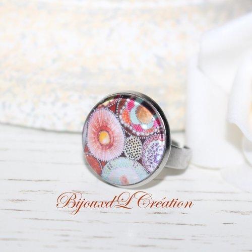 Bague acier inoxydable fleurs multicolore
