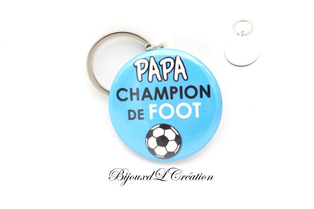 Porte clé Papa champion foot bleu