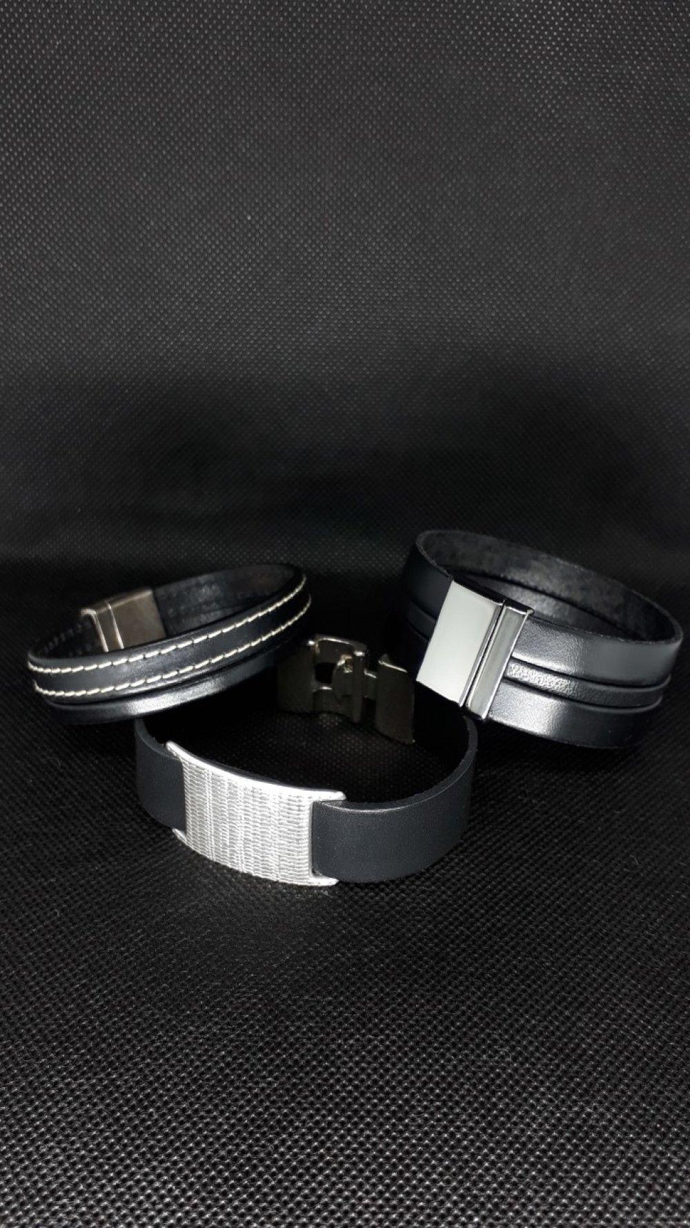 DESTOCKAGE HOMME Bracelet cuir noir