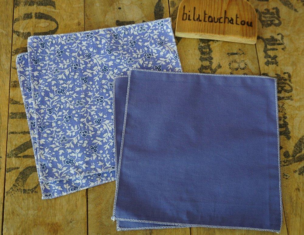 Lot de 4 mouchoirs de poche, tissu recyclé, lavables et réutilisables