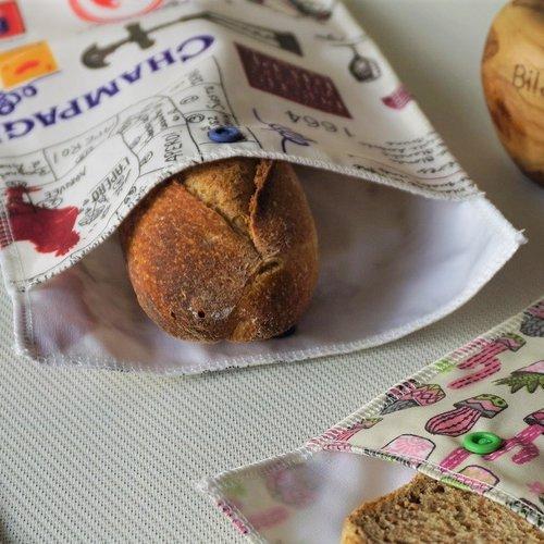 Sachet à sandwich 1/2 baguette, tissu pul alimentaire imperméable, et coton enduit, zéro déchet