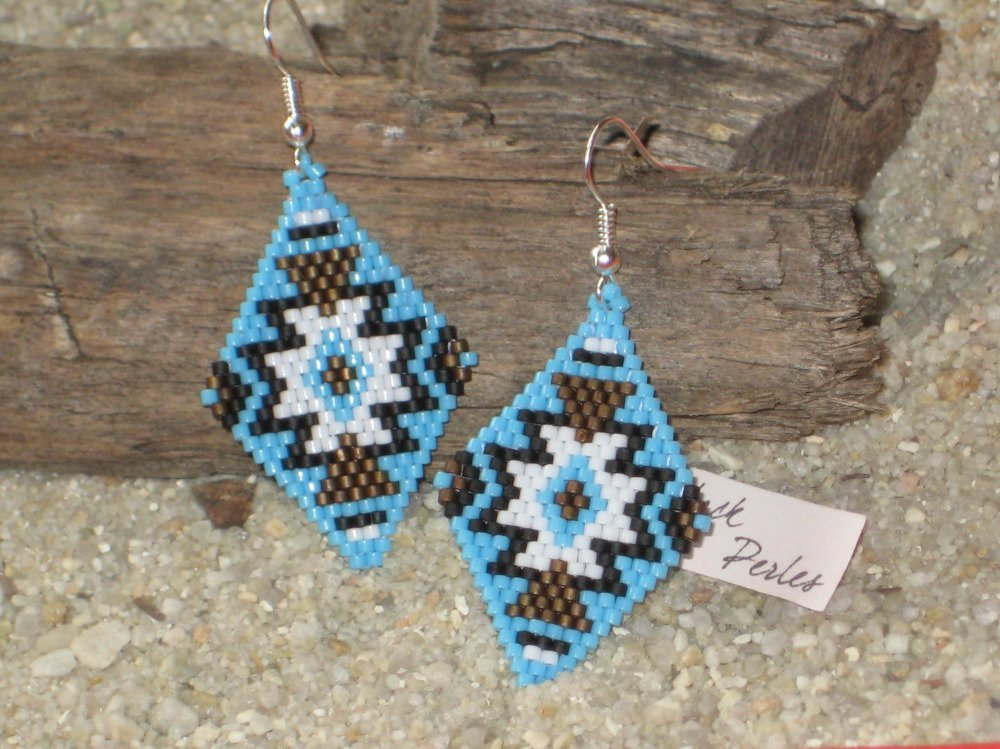 Boucles d'oreille style amérindien bleu Miyuki Délicas