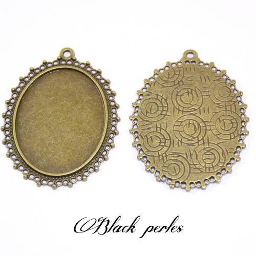 Support cabochon pendentif ovale 40x30mm x2- 260