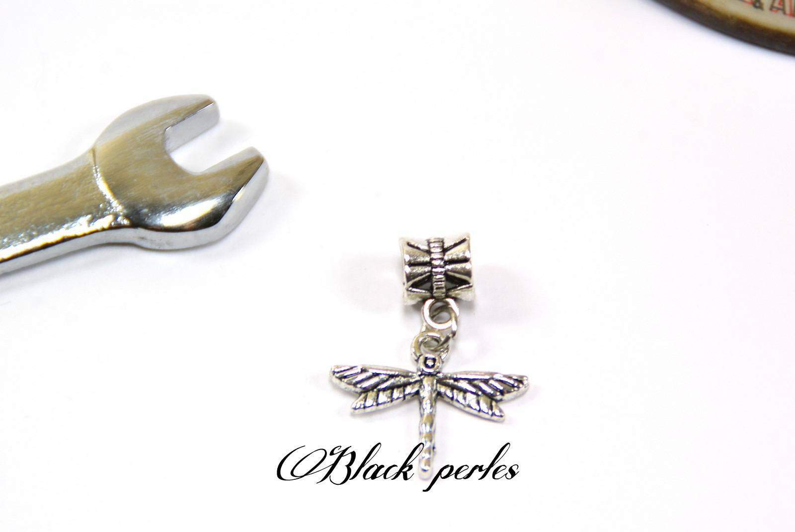 Perle style pandora, pendentif charm Libellule- P25