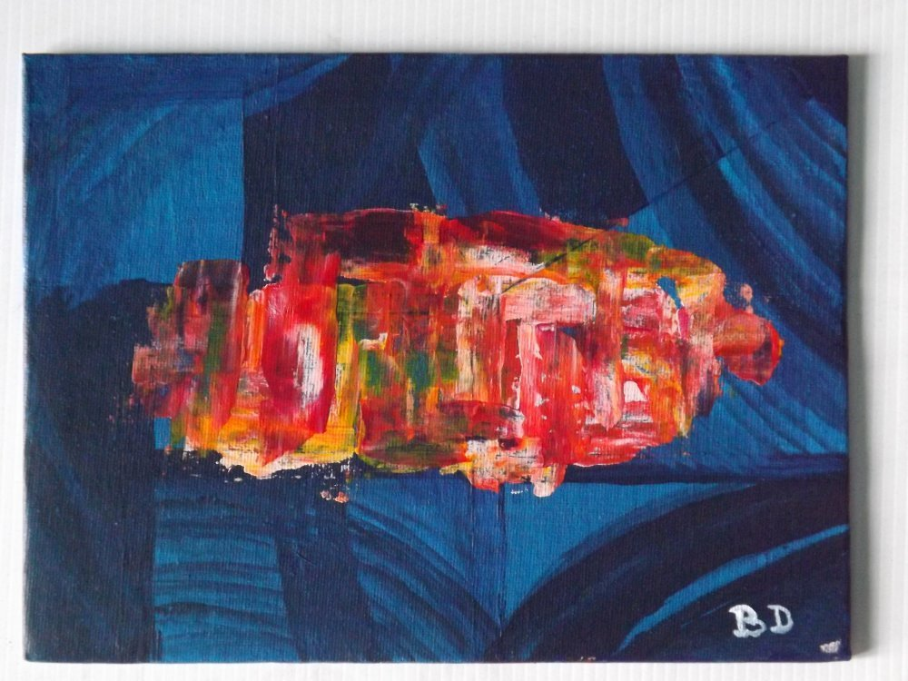 Peinture acrylique abstraite sur carton toilé