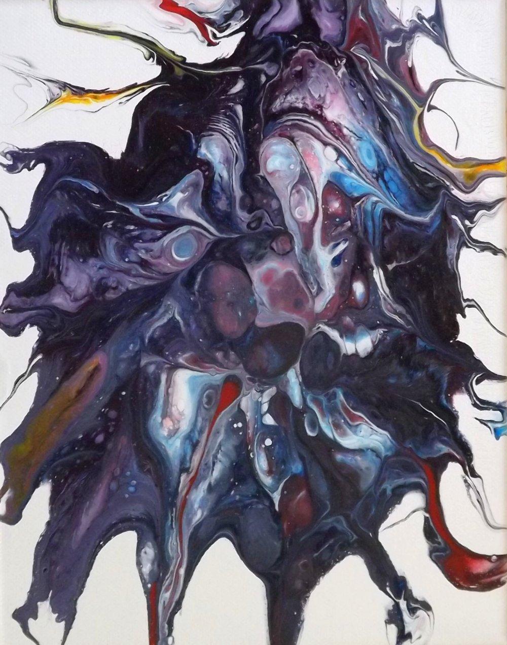 Blanco46- Pouring 03 -- peinture acrylique abstraite