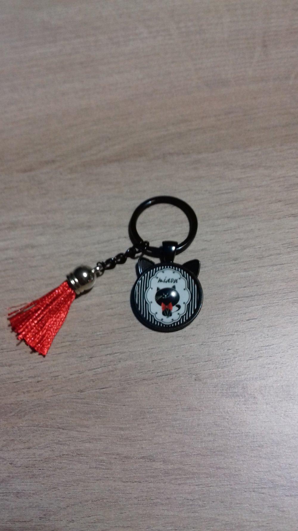 Porte clé /bijoux de sac cabochon chat