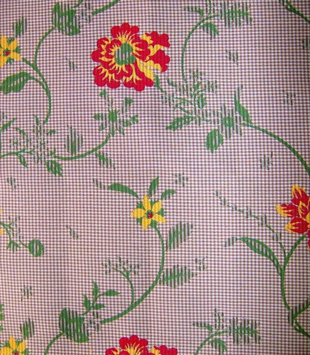 Tissu fleurs/vichy Réf.F37 37x33cm