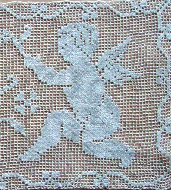 Pièce dentelle Duo ANGES blanc 27,5x11,5cm