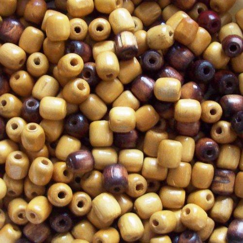 Lot 60 perles bois 17mm coloris clair/bois foncé lot comprenant 50 perles bois clair +10 coloris foncé